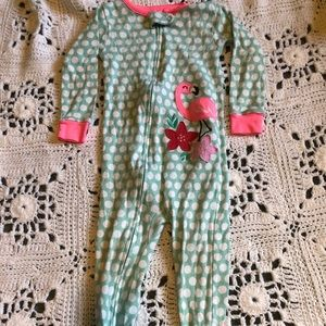 Flamingo zip up pajama set